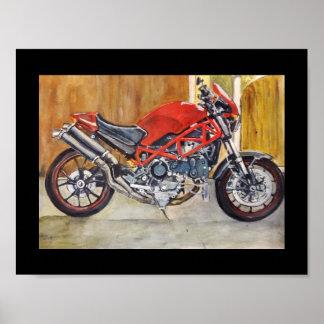 Red monster sportsbike poster