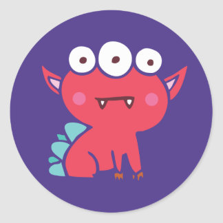 Red monster stamped style sticker