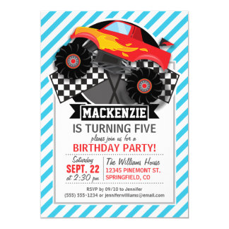 Red Monster Truck; Checkered Flag; Blue Stripes 13 Cm X 18 Cm Invitation Card