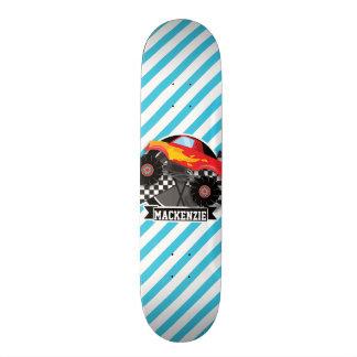 Red Monster Truck; Checkered Flag; Blue Stripes Skate Board