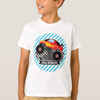 Red Monster Truck; Checkered Flag; Blue Stripes T Shirts