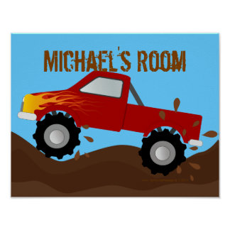 Red Monster Truck Personalized Poster