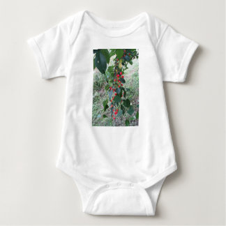 Red Montmorency cherries on tree in cherry orchard Baby Bodysuit