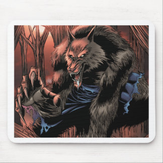 Red Moon Werewolf Mouse Pad