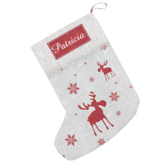 Red Moose and Red Snowflakes Christmas Stocking
