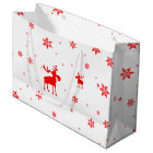 Red Moose and Red Snowflakes - Large Gift Bag