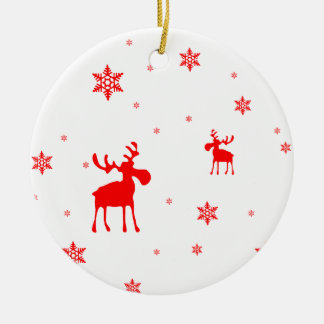 Red Moose and Red Snowflakes - Ornament