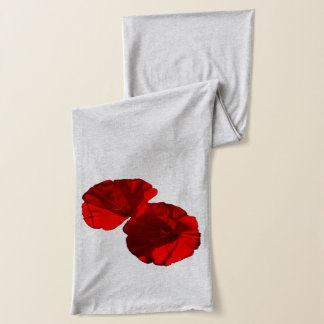 Red Morning Glories shown on Grey Scarf