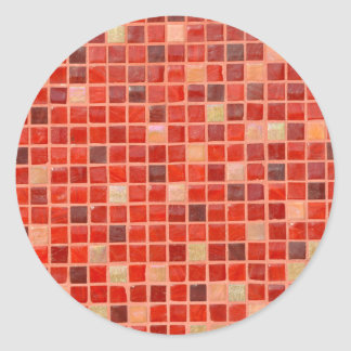 Red Mosaic Tile Background Classic Round Sticker