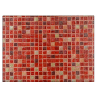 Red Mosaic Tile Background Cutting Board