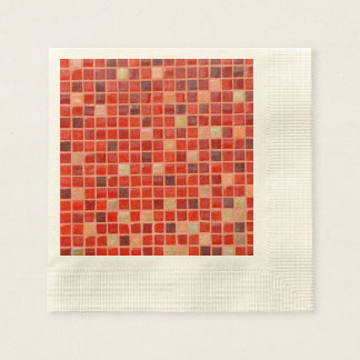 Red Mosaic Tile Background Disposable Napkins