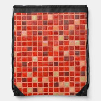 Red Mosaic Tile Background Drawstring Bag
