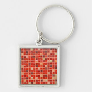 Red Mosaic Tile Background Key Ring