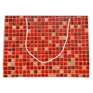 Red Mosaic Tile Background Large Gift Bag
