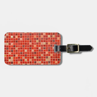 Red Mosaic Tile Background Luggage Tag