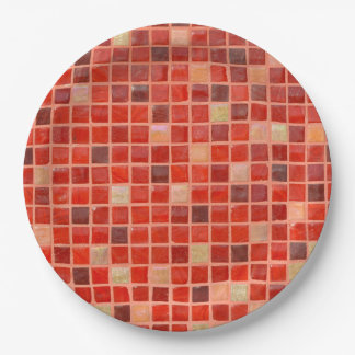 Red Mosaic Tile Background Paper Plate