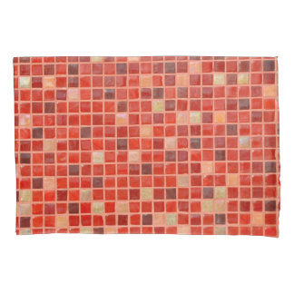 Red Mosaic Tile Background Pillowcase