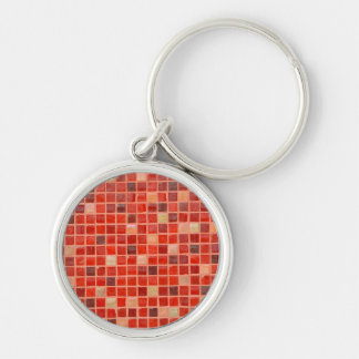 Red Mosaic Tile Background Silver-Colored Round Key Ring