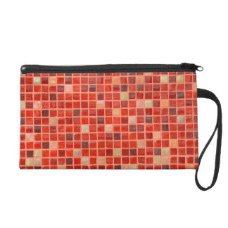 Red Mosaic Tile Background Wristlet Clutch