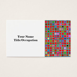 Red, Moss Green And Blue 'Clay' Tiles Pattern Business Card
