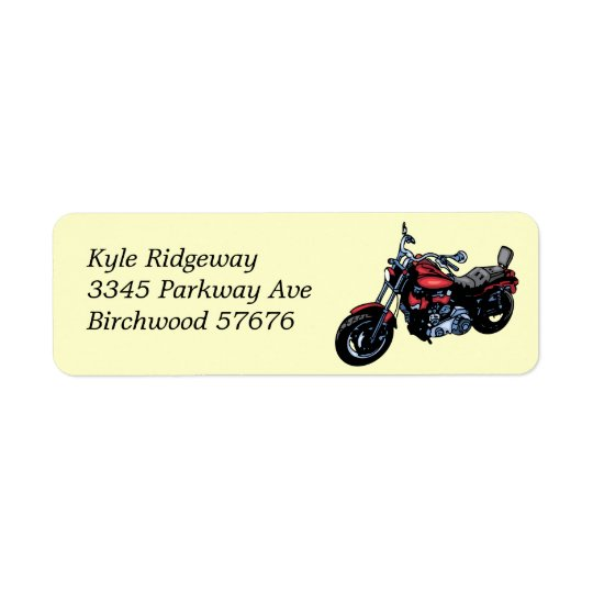 Red Motorcycle  Return Address Label