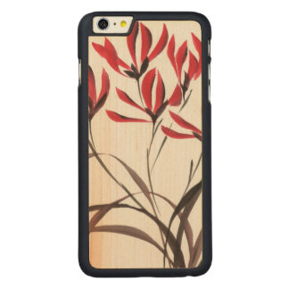 Red Mountain Flowers Carved Maple iPhone 6 Plus Case