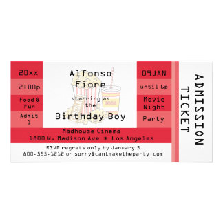 Red Movie Night Party Admission Ticket Invite Photo Greeting Card