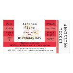 Red Movie Night Party Admission Ticket Invite Personalised Photo Card