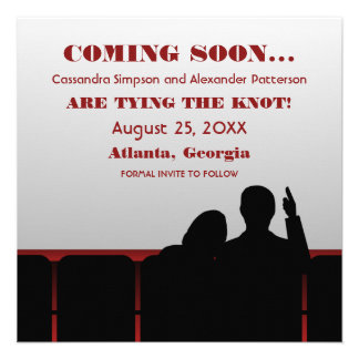 Red Movie Theater Save the Date Announcements