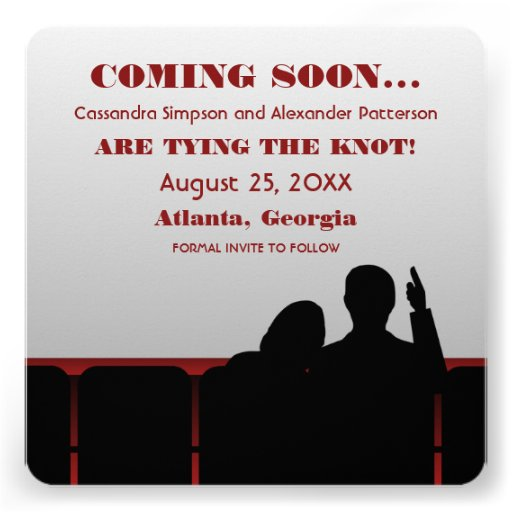 Red Movie Theater Save the Date Personalized Announcements