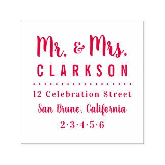 Red Mr & Mrs Family Name Modern Return Address Self-inking Stamp
