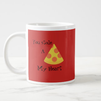 Red Mug with pizza and a cheesy pun