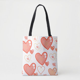 Red Multi-heart pattern crossbody and tote