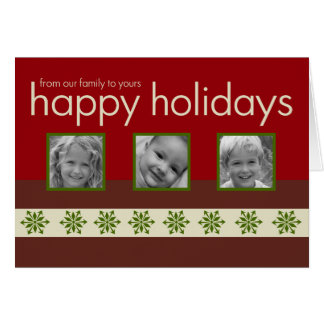 Red Multi Photo Folded Holiday Greeting Card
