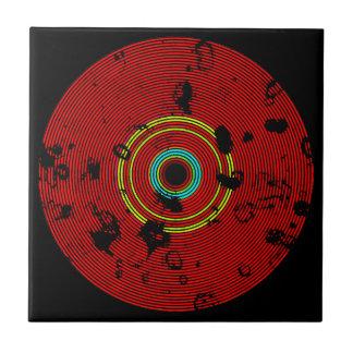 Red Multicolor Vinyl Disc Texture Pattern Tile