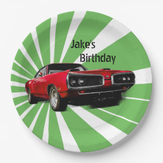 Red Muscle Car Paper Plate