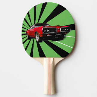 Red Muscle Car Ping Pong Paddle