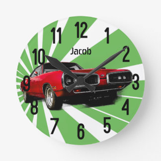 Red Muscle Car Round Clock