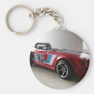 Red Muscle Car Toy Basic Round Button Key Ring