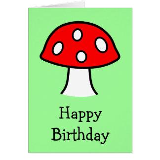 Red Mushroom Birthday Card