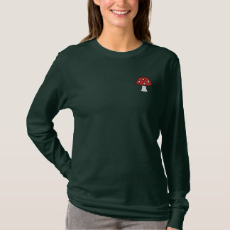 Red Mushroom Embroidered Long Sleeve T-Shirt
