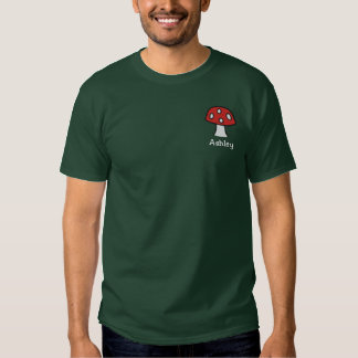 Red Mushroom Name Embroidered T-Shirt