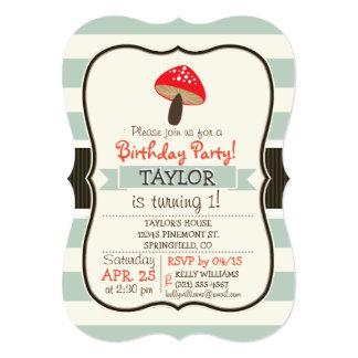 "Red Mushroom on Sage Green Stripes 5"" X 7"" Invitation Card"
