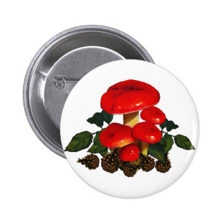 Red Mushrooms, Pine Cones; Nature Art 6 Cm Round Badge