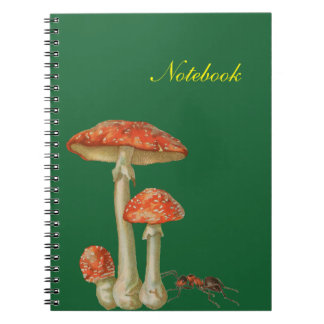Red mushrooms white spotted and ant notebooks