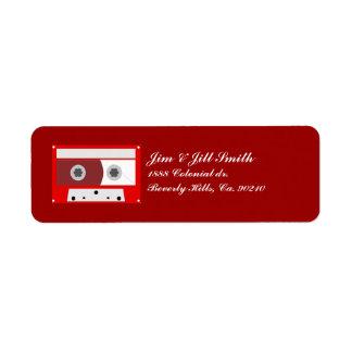 Red Music Cassette Tape Set Return Address Label