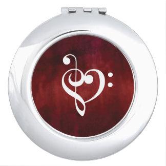 Red Music Heart Design Travel Mirror