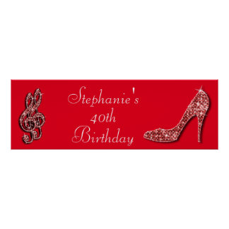 Red Music Note and Stiletto 40th Birthday Print