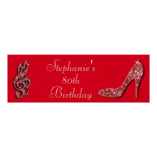Red Music Note and Stiletto 80th Birthday Posters