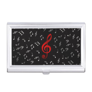 red music notes in black business card cases